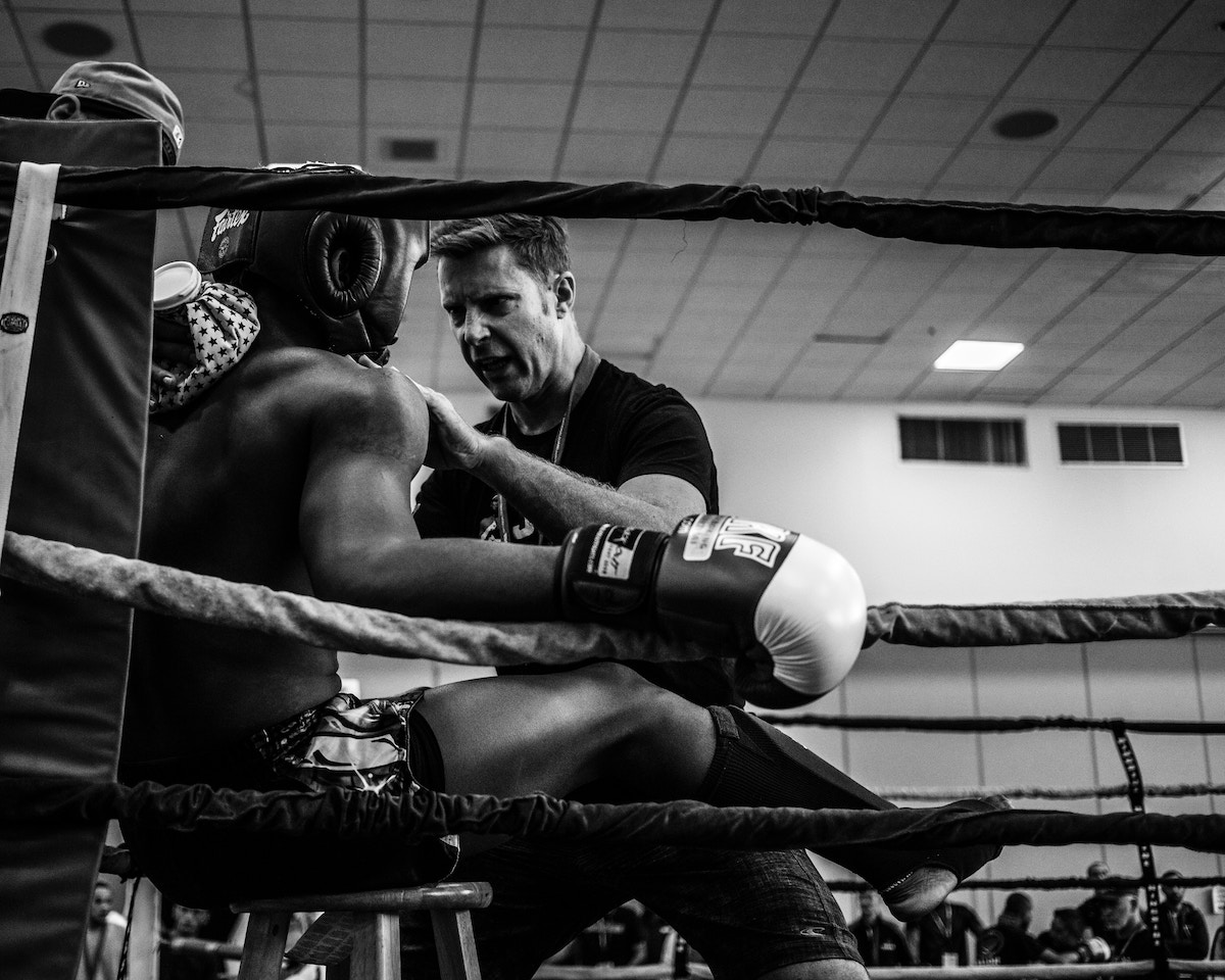 Boxer getting a peptalk