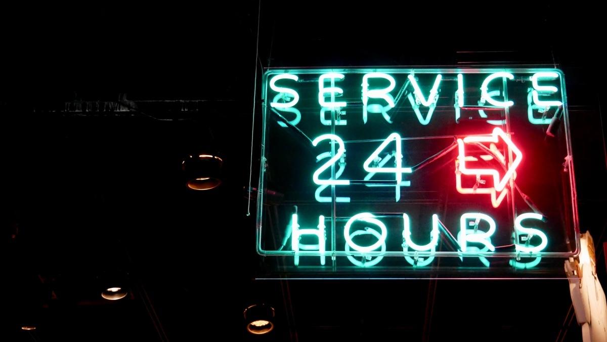 24/7 service neon sign